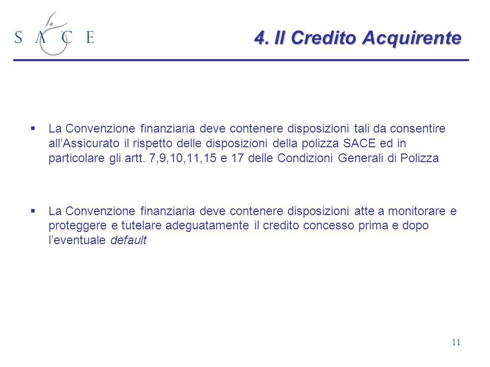 11 4.Il Credito Acquirente 4. Il Credito Acquirente La Convenzione finanziaria deve contenere disposizioni tali da consentire allAssicurato il rispett