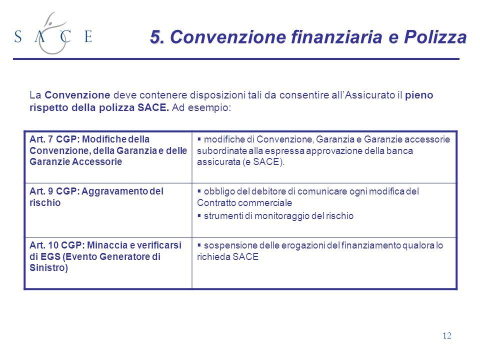 12 5. 5. Convenzione finanziaria e Polizza La Convenzione deve contenere disposizioni tali da consentire allAssicurato il pieno rispetto della polizza