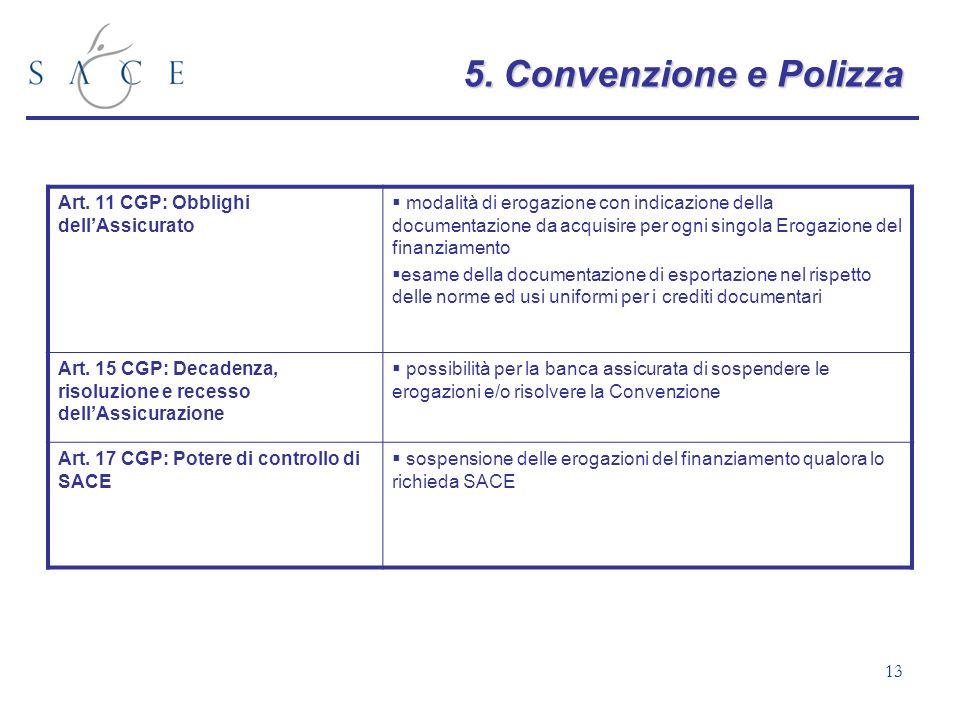 13 5.Convenzione e Polizza 5. Convenzione e Polizza Art. 11 CGP: Obblighi dellAssicurato modalità di erogazione con indicazione della documentazione d