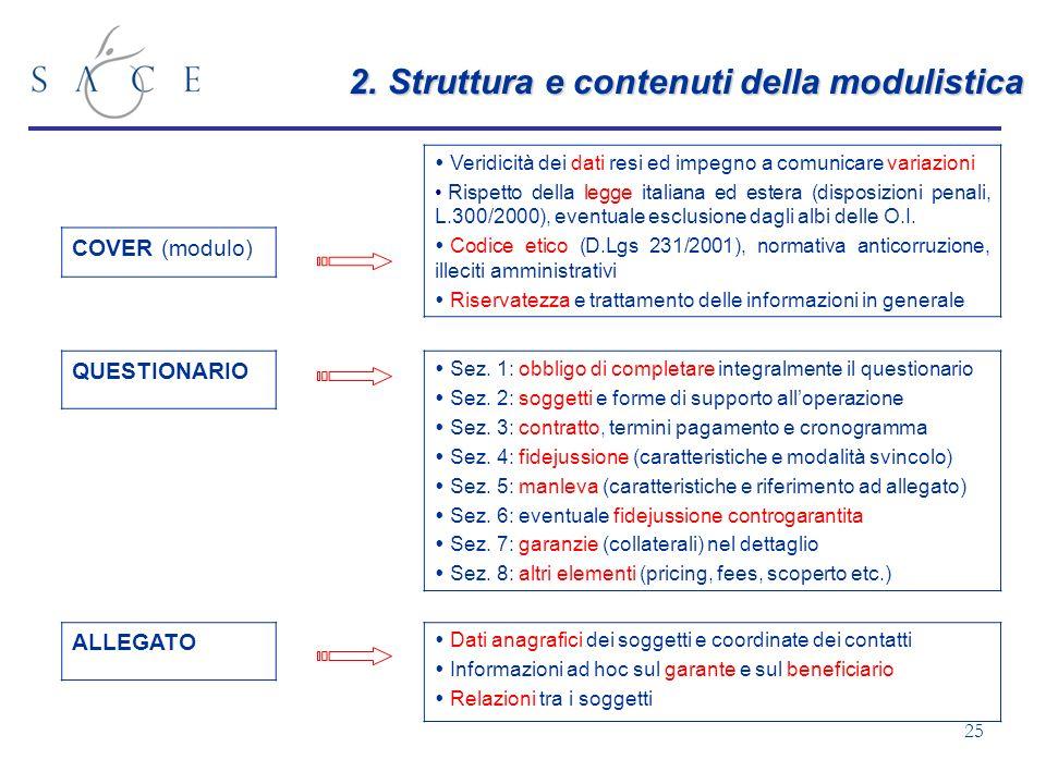 25 2. Struttura e contenuti della modulistica COVER (modulo) Veridicità dei dati resi ed impegno a comunicare variazioni Rispetto della legge italiana