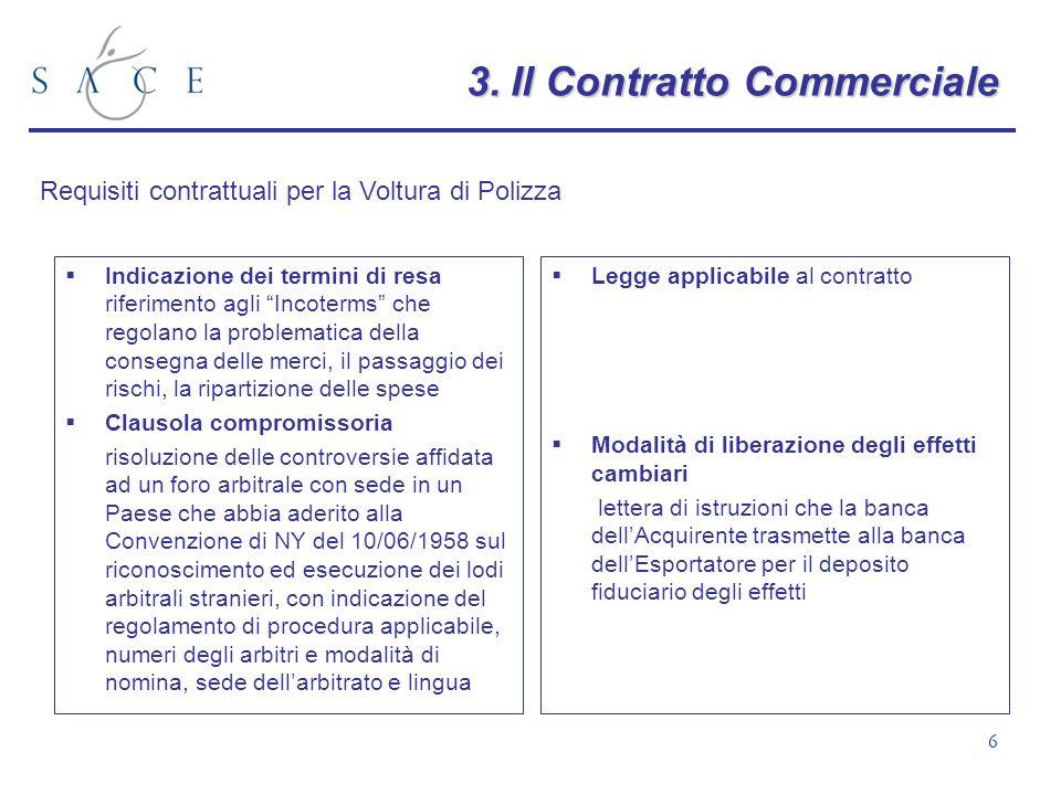 6 3.Il Contratto Commerciale 3. Il Contratto Commerciale Indicazione dei termini di resa riferimento agli Incoterms che regolano la problematica della
