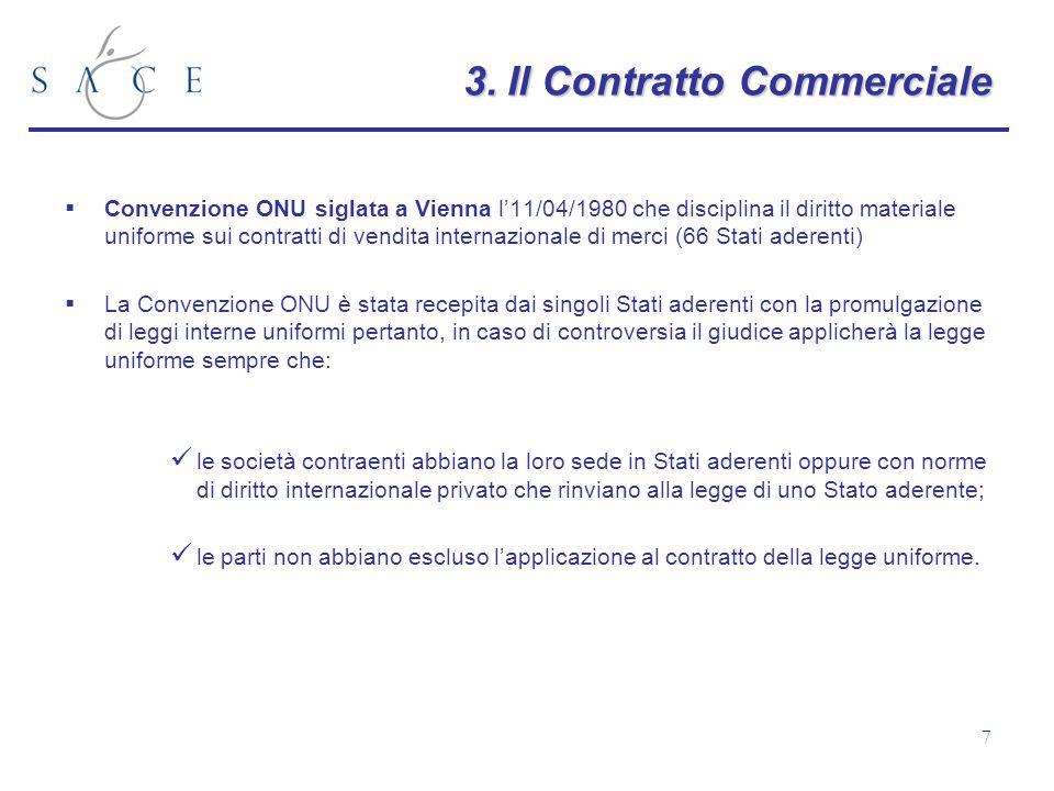 7 3.Il Contratto Commerciale 3. Il Contratto Commerciale Convenzione ONU siglata a Vienna l11/04/1980 che disciplina il diritto materiale uniforme sui
