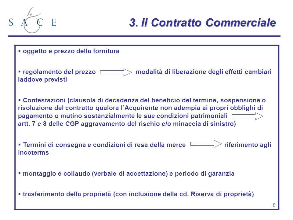 8 3.Il Contratto Commerciale 3. Il Contratto Commerciale oggetto e prezzo della fornitura regolamento del prezzo modalità di liberazione degli effetti