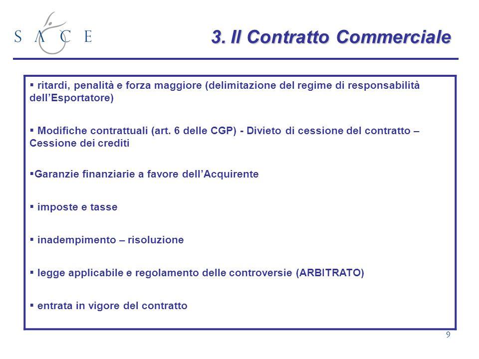 9 3.Il Contratto Commerciale 3. Il Contratto Commerciale ritardi, penalità e forza maggiore (delimitazione del regime di responsabilità dellEsportator