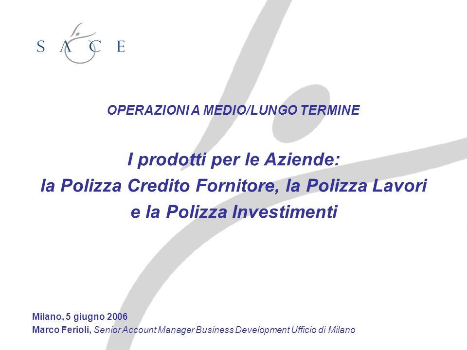 OPERAZIONI A MEDIO/LUNGO TERMINE I prodotti per le Aziende: la Polizza Credito Fornitore, la Polizza Lavori e la Polizza Investimenti Milano, 5 giugno