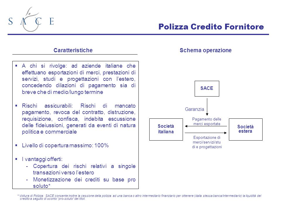 A chi si rivolge: ad aziende italiane che effettuano esportazioni di merci, prestazioni di servizi, studi e progettazioni con lestero, concedendo dila
