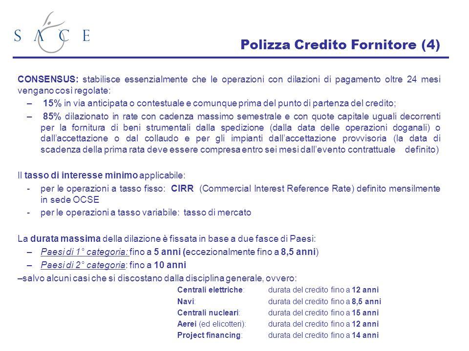 Polizza Credito Fornitore (4) CONSENSUS: stabilisce essenzialmente che le operazioni con dilazioni di pagamento oltre 24 mesi vengano così regolate: –