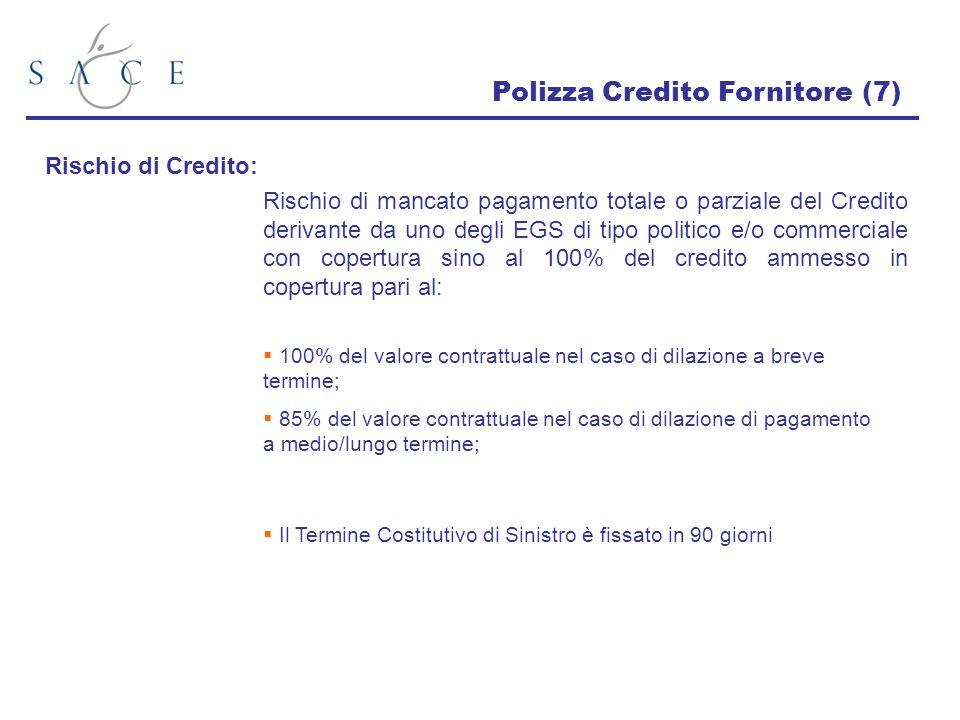 Polizza Credito Fornitore (7) Rischio di Credito: Rischio di mancato pagamento totale o parziale del Credito derivante da uno degli EGS di tipo politi