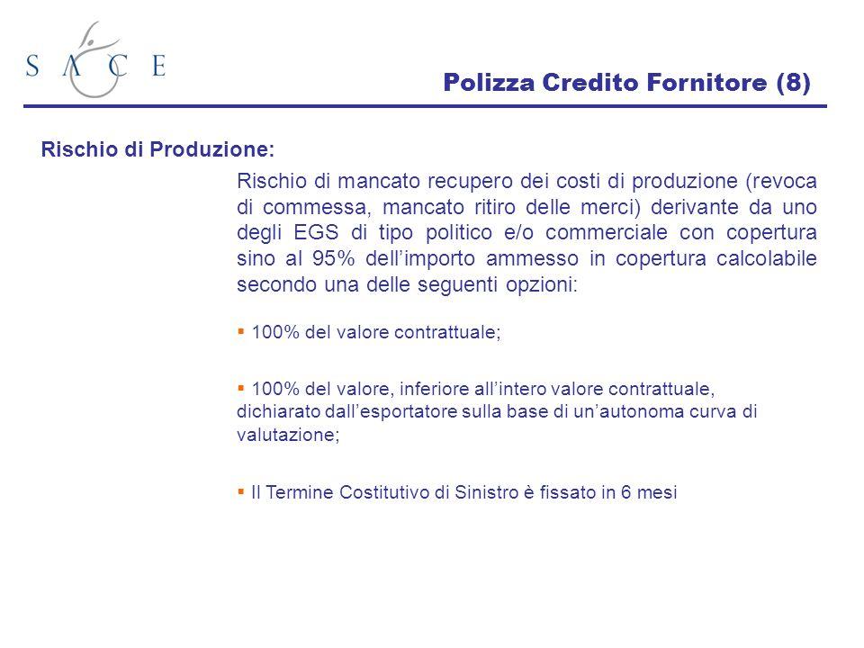 Polizza Credito Fornitore (8) Rischio di Produzione: Rischio di mancato recupero dei costi di produzione (revoca di commessa, mancato ritiro delle mer