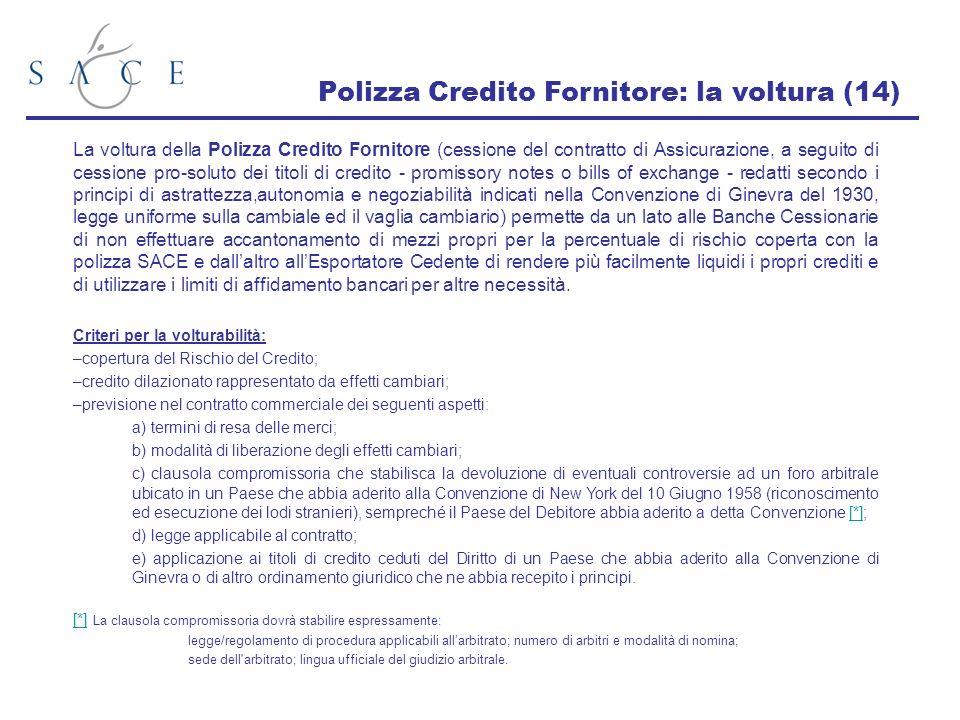 Polizza Credito Fornitore: la voltura (14) La voltura della Polizza Credito Fornitore (cessione del contratto di Assicurazione, a seguito di cessione
