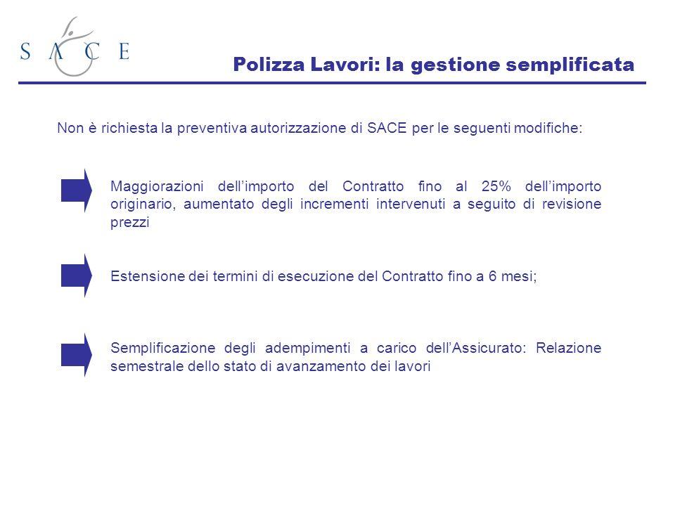 Polizza Lavori: la gestione semplificata Non è richiesta la preventiva autorizzazione di SACE per le seguenti modifiche: Maggiorazioni dellimporto del