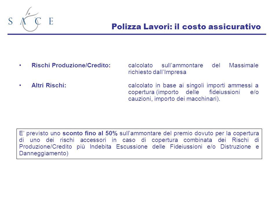 Polizza Lavori: il costo assicurativo Rischi Produzione/Credito:calcolato sullammontare del Massimale richiesto dallImpresa Altri Rischi:calcolato in
