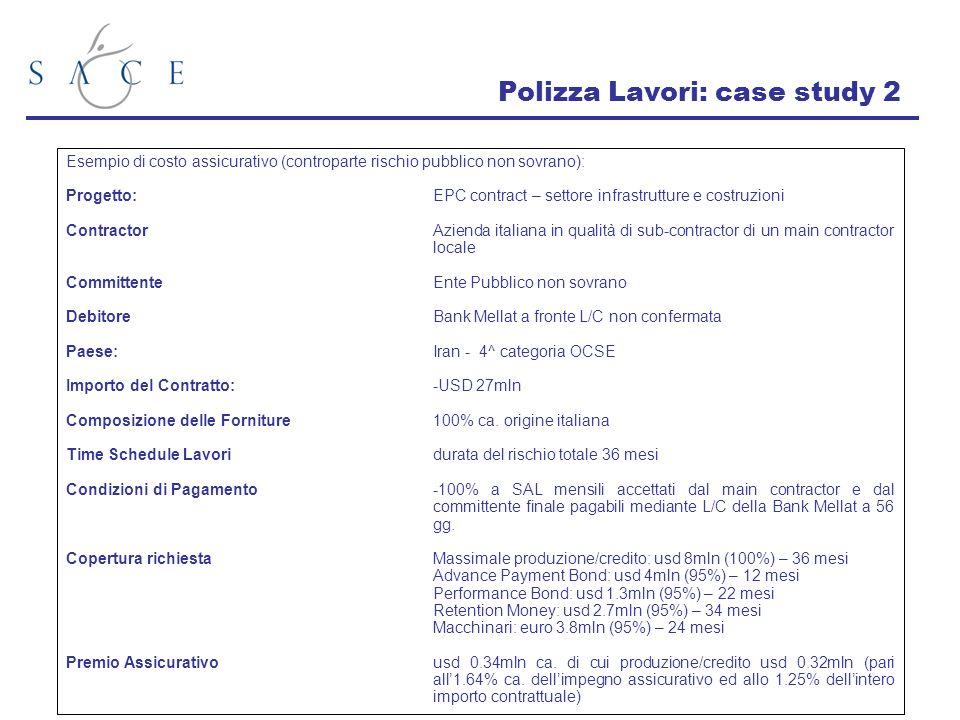 Polizza Lavori: case study 2 Esempio di costo assicurativo (controparte rischio pubblico non sovrano): Progetto:EPC contract – settore infrastrutture