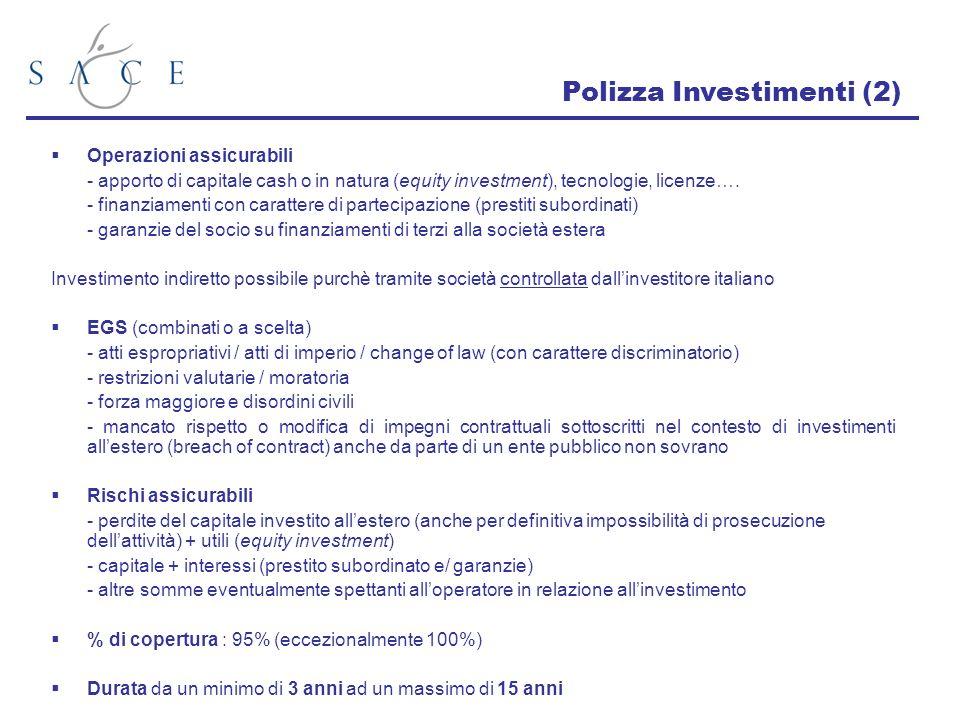 Operazioni assicurabili - apporto di capitale cash o in natura (equity investment), tecnologie, licenze…. - finanziamenti con carattere di partecipazi