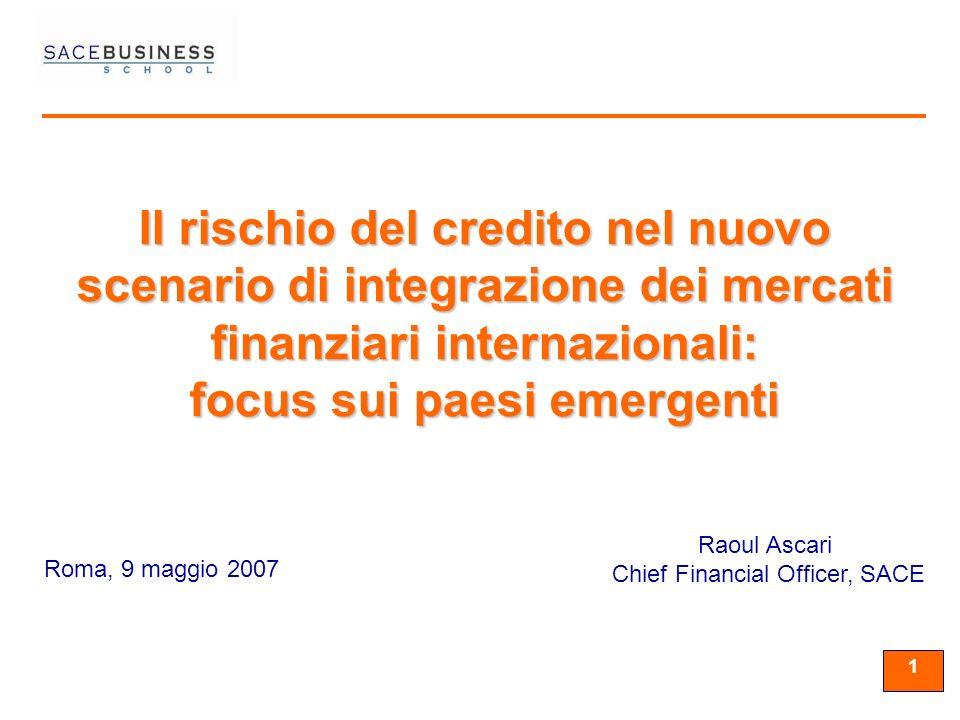 11 1 Roma, 9 maggio 2007 Raoul Ascari Chief Financial Officer, SACE Il rischio del credito nel nuovo scenario di integrazione dei mercati finanziari internazionali: focus sui paesi emergenti