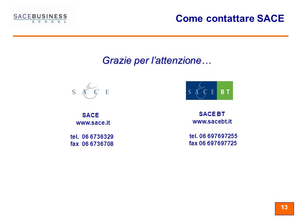 13 tel. 06 6736329 fax 06 6736708 SACE www.sace.it tel. 06 697697255 fax 06 697697725 SACE BT www.sacebt.it Come contattare SACE Grazie per lattenzion