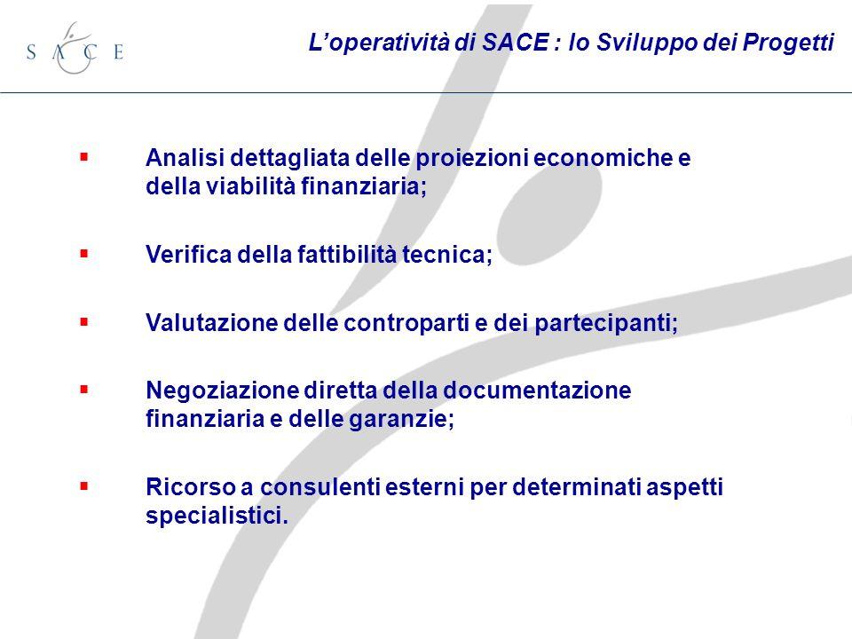 Loperatività di SACE : lo Sviluppo dei Progetti Analisi dettagliata delle proiezioni economiche e della viabilità finanziaria; Verifica della fattibil