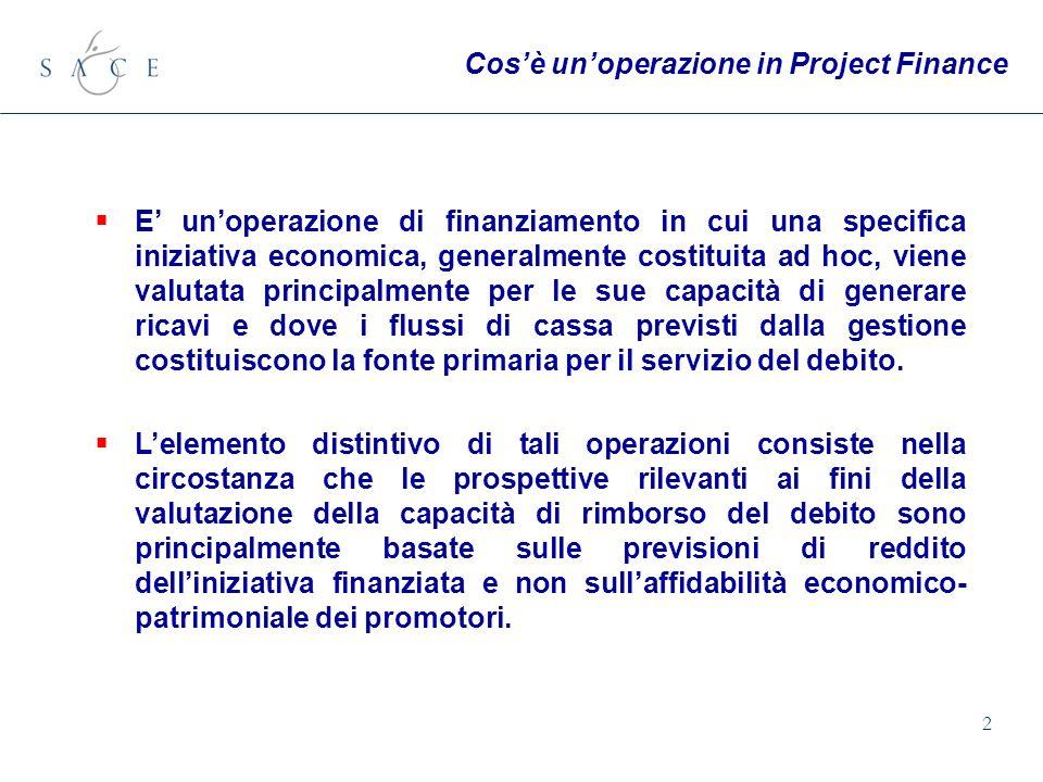 2 E unoperazione di finanziamento in cui una specifica iniziativa economica, generalmente costituita ad hoc, viene valutata principalmente per le sue