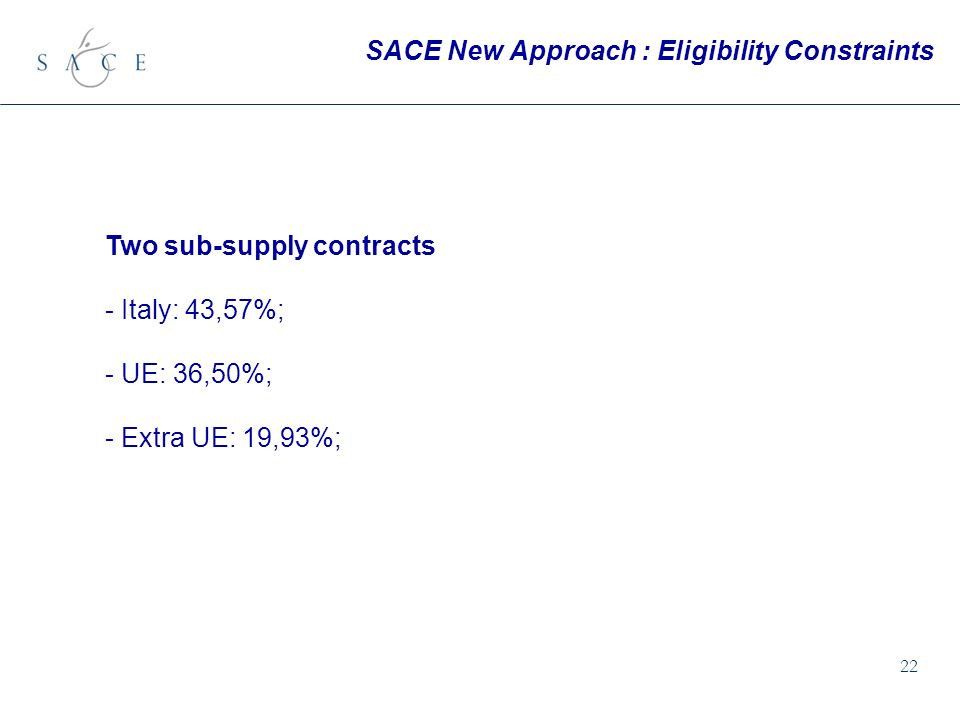 22 SACE New Approach : Eligibility Constraints Two sub-supply contracts - Italy: 43,57%; - UE: 36,50%; - Extra UE: 19,93%;