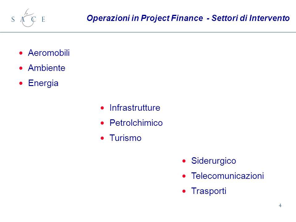 4 Aeromobili Ambiente Energia Siderurgico Telecomunicazioni Trasporti Infrastrutture Petrolchimico Turismo Operazioni in Project Finance - Settori di Intervento