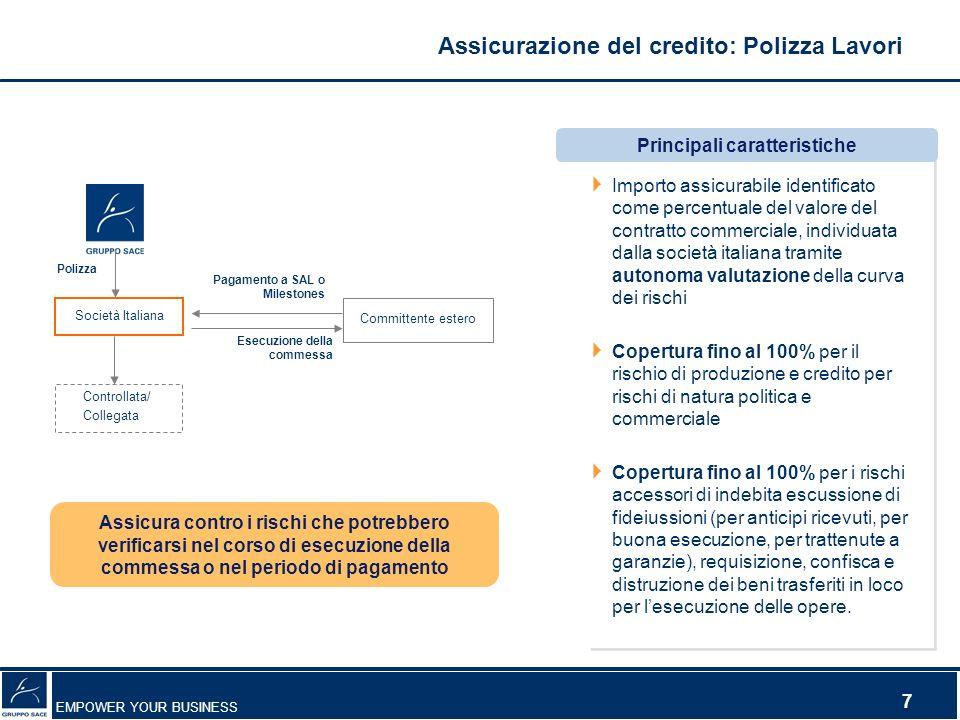 EMPOWER YOUR BUSINESS 7 Assicura contro i rischi che potrebbero verificarsi nel corso di esecuzione della commessa o nel periodo di pagamento Importo