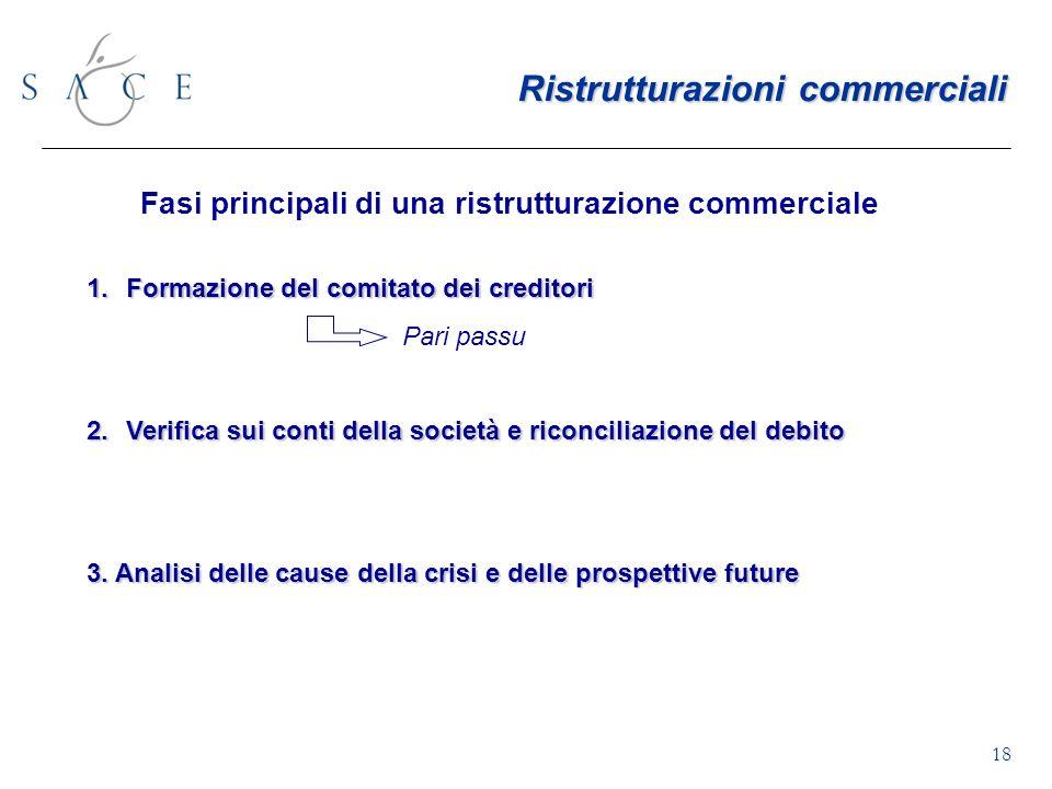 18 Fasi principali di una ristrutturazione commerciale 1.Formazione del comitato dei creditori Pari passu 2.Verifica sui conti della società e riconciliazione del debito 3.