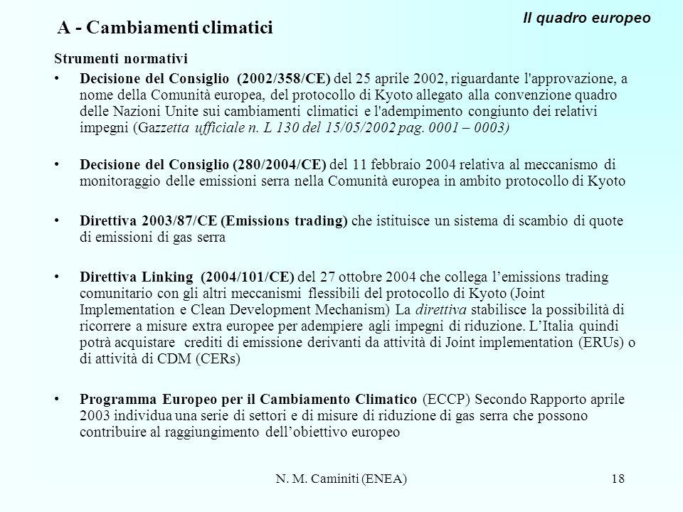 N. M. Caminiti (ENEA)18 A - Cambiamenti climatici Strumenti normativi Decisione del Consiglio (2002/358/CE) del 25 aprile 2002, riguardante l'approvaz