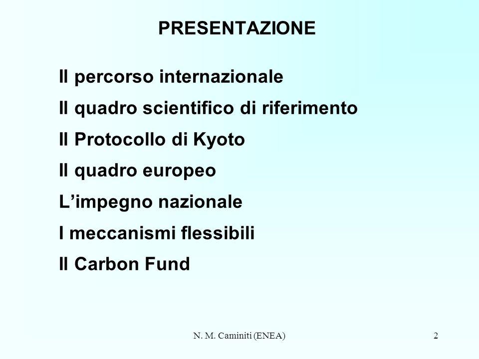 N. M. Caminiti (ENEA)2 PRESENTAZIONE Il percorso internazionale Il quadro scientifico di riferimento Il Protocollo di Kyoto Il quadro europeo Limpegno