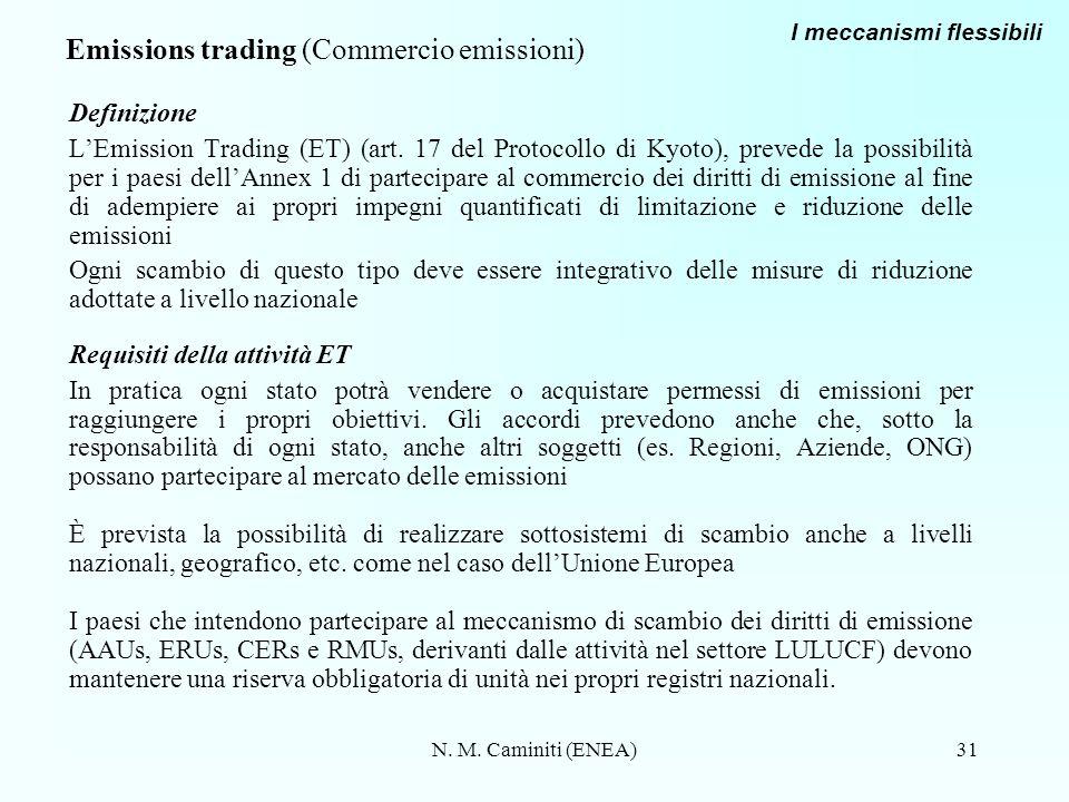 N. M. Caminiti (ENEA)31 Emissions trading (Commercio emissioni) Definizione LEmission Trading (ET) (art. 17 del Protocollo di Kyoto), prevede la possi