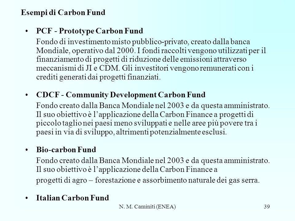 N. M. Caminiti (ENEA)39 Esempi di Carbon Fund PCF - Prototype Carbon Fund Fondo di investimento misto pubblico-privato, creato dalla banca Mondiale, o