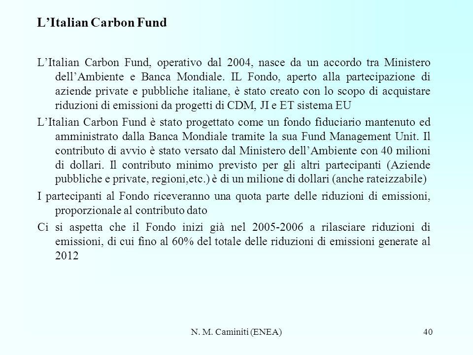 N. M. Caminiti (ENEA)40 LItalian Carbon Fund LItalian Carbon Fund, operativo dal 2004, nasce da un accordo tra Ministero dellAmbiente e Banca Mondiale