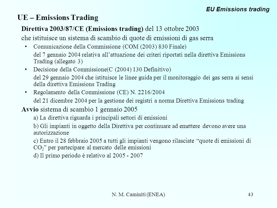 N. M. Caminiti (ENEA)43 UE – Emissions Trading Direttiva 2003/87/CE (Emissions trading) del 13 ottobre 2003 che istituisce un sistema di scambio di qu