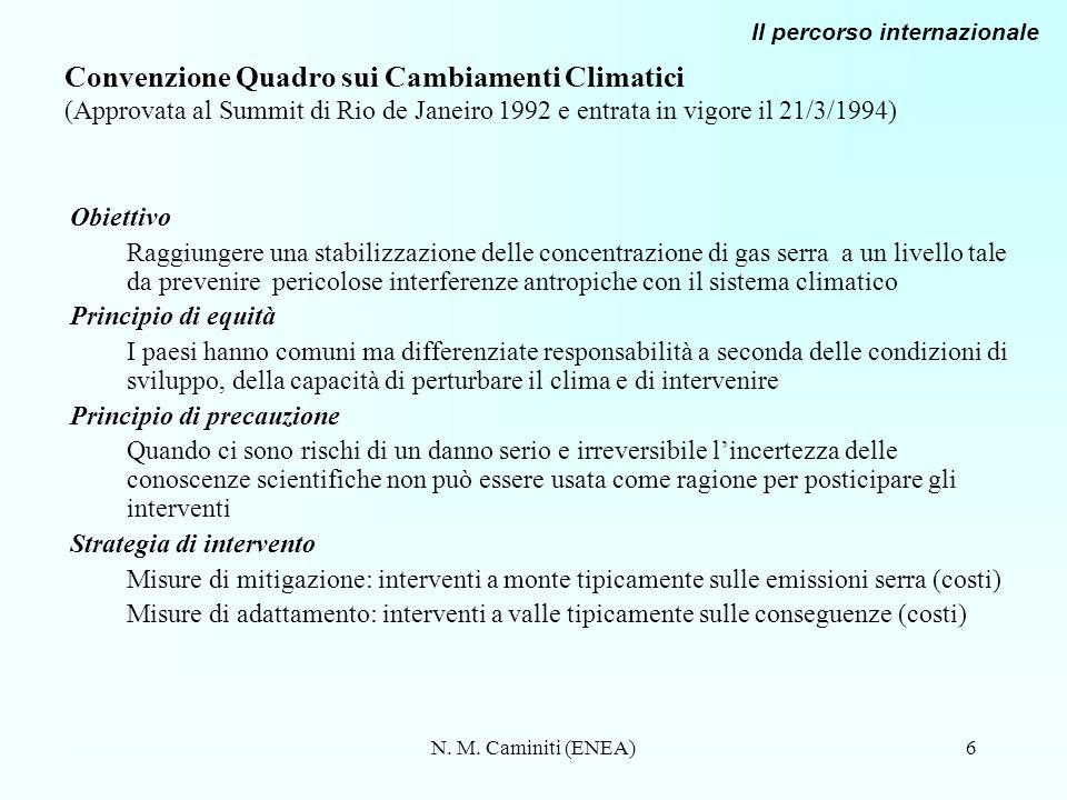 N. M. Caminiti (ENEA)6 Convenzione Quadro sui Cambiamenti Climatici (Approvata al Summit di Rio de Janeiro 1992 e entrata in vigore il 21/3/1994) Obie