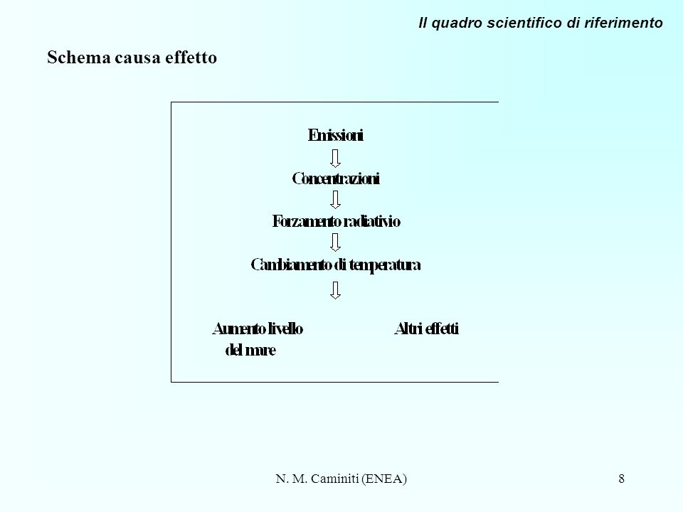 N. M. Caminiti (ENEA)8 Schema causa effetto Il quadro scientifico di riferimento
