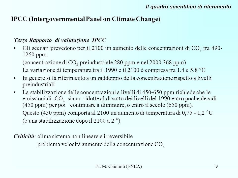 N. M. Caminiti (ENEA)9 IPCC (Intergovernmental Panel on Climate Change) Terzo Rapporto di valutazione IPCC Gli scenari prevedono per il 2100 un aument