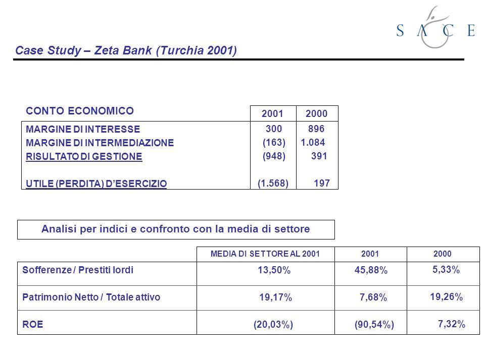 Case Study – Zeta Bank (Turchia 2001) Sofferenze / Prestiti lordi Patrimonio Netto / Totale attivo ROE 2001 45,88% 7,68% (90,54%) Analisi per indici e confronto con la media di settore 5,33% 19,26% 7,32% 2000 MEDIA DI SETTORE AL 2001 13,50% 19,17% (20,03%) CONTO ECONOMICO 2001 300 (163) (948) (1.568) 2000 896 1.084 391 197 MARGINE DI INTERESSE MARGINE DI INTERMEDIAZIONE RISULTATO DI GESTIONE UTILE (PERDITA) DESERCIZIO