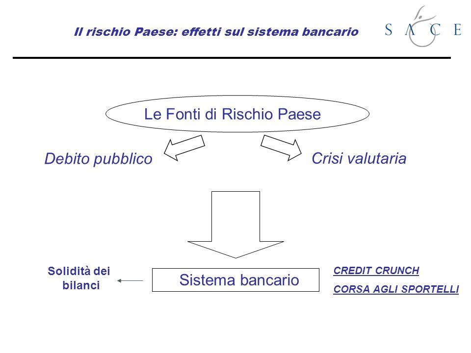 Il rischio Paese: effetti sul sistema bancario Le Fonti di Rischio Paese Debito pubblico Crisi valutaria Sistema bancario Solidità dei bilanci CREDIT