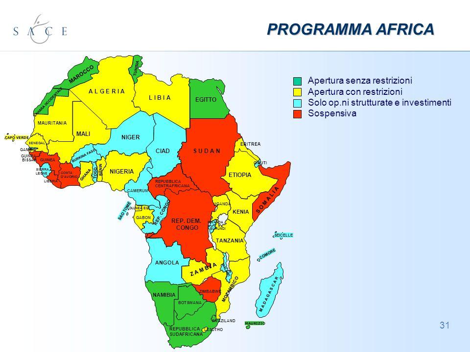 31 MAURIZIO CAPO VERDE Apertura senza restrizioni Apertura con restrizioni Solo op.ni strutturate e investimenti Sospensiva PROGRAMMA AFRICA