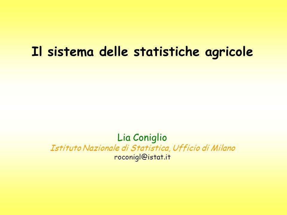 Il sistema delle statistiche agricole Lia Coniglio Istituto Nazionale di Statistica, Ufficio di Milano roconigl@istat.it