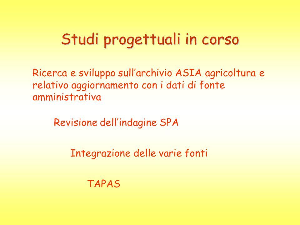 Studi progettuali in corso Ricerca e sviluppo sullarchivio ASIA agricoltura e relativo aggiornamento con i dati di fonte amministrativa Revisione dell