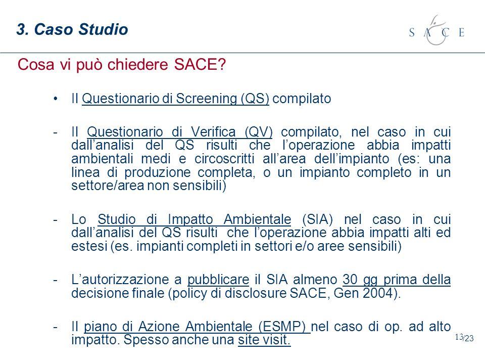 13 3. Caso Studio Il Questionario di Screening (QS) compilato -Il Questionario di Verifica (QV) compilato, nel caso in cui dallanalisi del QS risulti