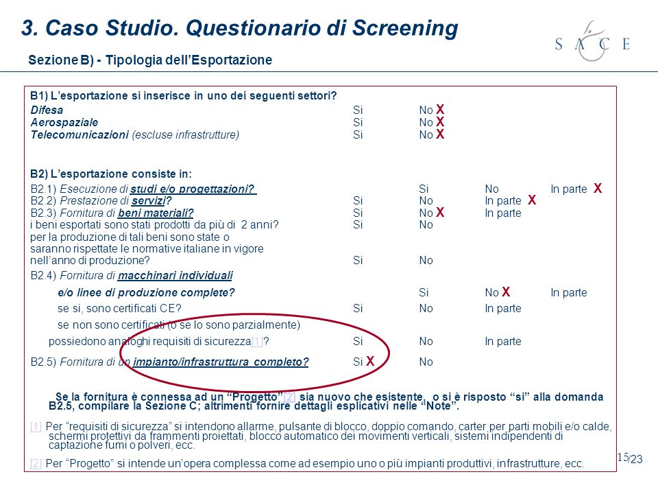 15 3. Caso Studio. Questionario di Screening B1) Lesportazione si inserisce in uno dei seguenti settori? Difesa Si No X Aerospaziale Si No X Telecomun