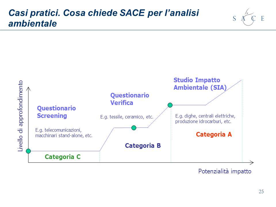 25 Casi pratici. Cosa chiede SACE per lanalisi ambientale Livello di approfondimento Potenzialità impatto Questionario Screening Categoria C Categoria