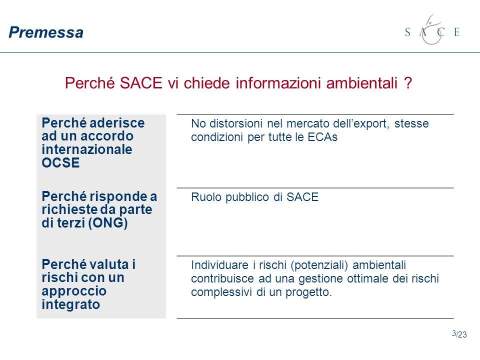 3 Perché SACE vi chiede informazioni ambientali ? Perché aderisce ad un accordo internazionale OCSE No distorsioni nel mercato dellexport, stesse cond