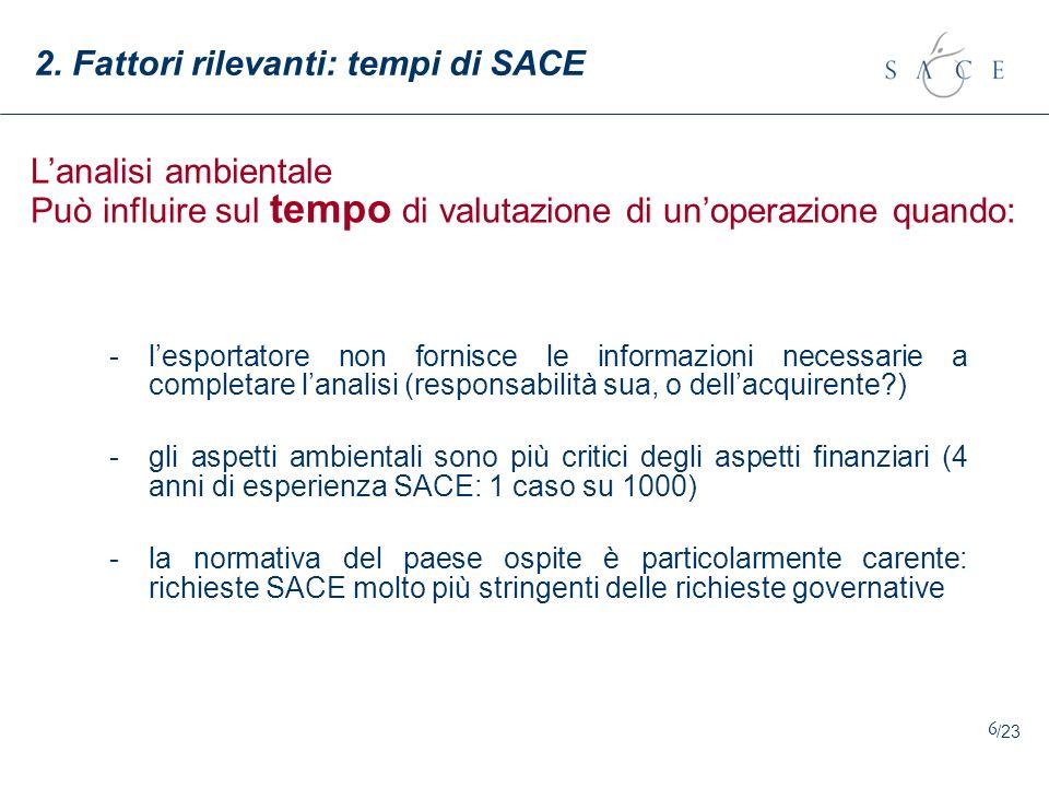 7 2.Fattori rilevanti: tempi di SACE Categoria Operaz.