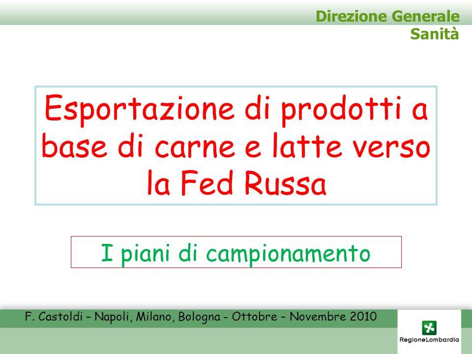 Direzione Generale Sanità Esportazione di prodotti a base di carne e latte verso la Fed Russa I piani di campionamento F. Castoldi – Napoli, Milano, B