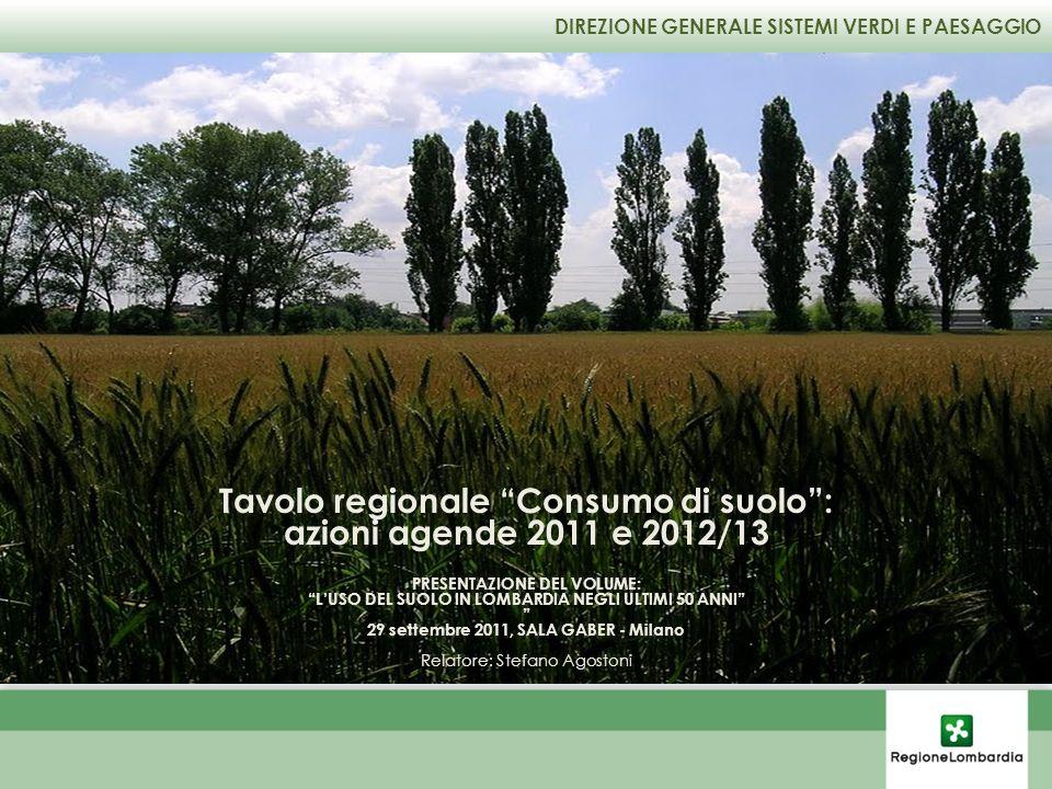 DIREZIONE GENERALE SISTEMI VERDI E PAESAGGIO Tavolo regionale Consumo di suolo: azioni agende 2011 e 2012/13 PRESENTAZIONE DEL VOLUME: LUSO DEL SUOLO