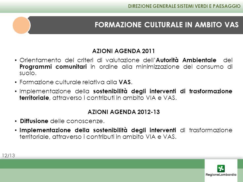 AZIONI AGENDA 2012-13 Diffusione delle conoscenze. Implementazione della sostenibilità degli interventi di trasformazione territoriale, attraverso i c