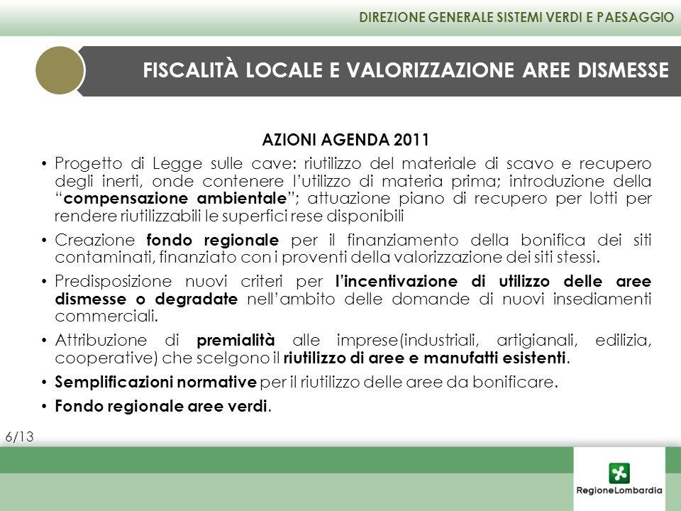 AZIONI AGENDA 2011 Progetto di Legge sulle cave: riutilizzo del materiale di scavo e recupero degli inerti, onde contenere lutilizzo di materia prima;