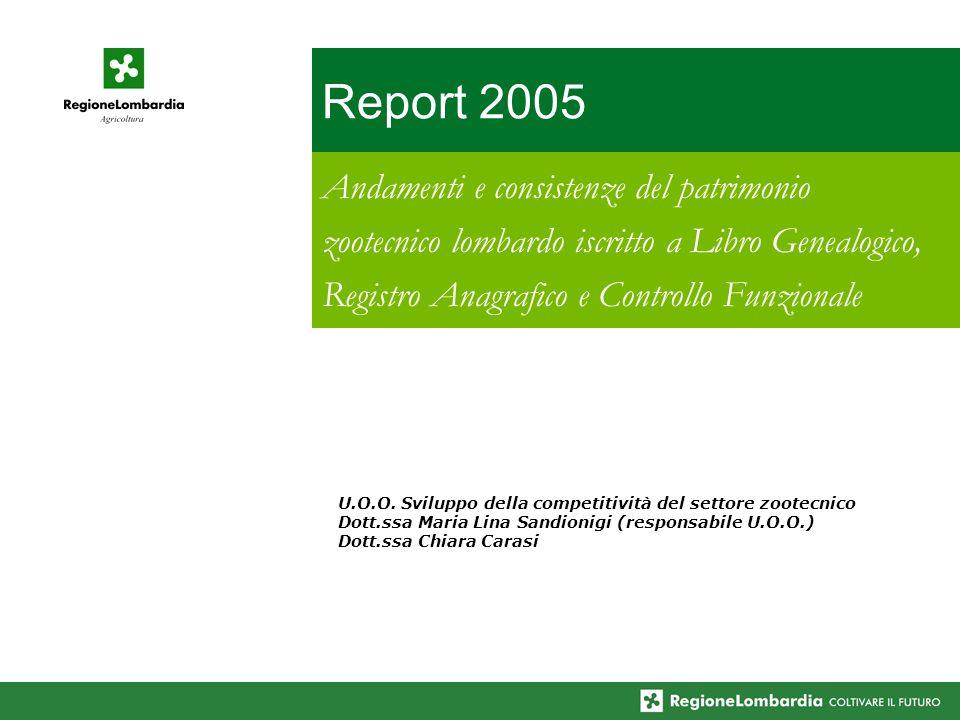 Report 2005 Andamenti e consistenze del patrimonio zootecnico lombardo iscritto a Libro Genealogico, Registro Anagrafico e Controllo Funzionale U.O.O.
